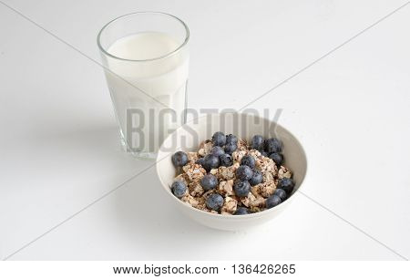 Bits of healthy nut and fruit snacks and a glass of milk