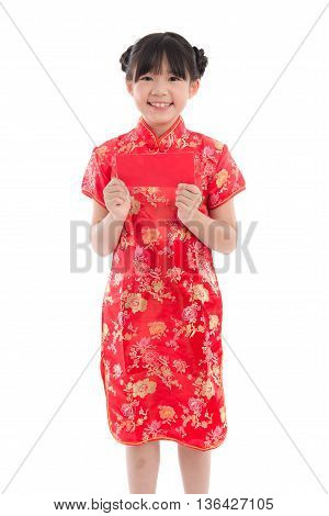 Happy chinese new year concept . smiling asian little girls holding red envelope on white background isolated