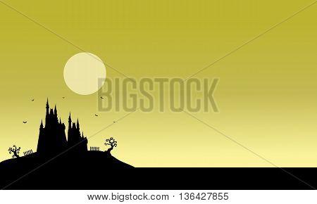 Silhouette of Halloween castle scenery vector illustration