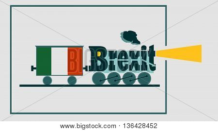 Italy leave the European Union relative image. Politic process metaphor . Steam train as brexit word