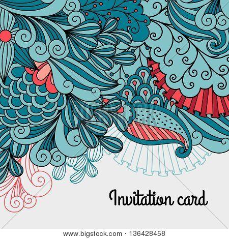 Doodle floral card design. Vector decorative invitation template