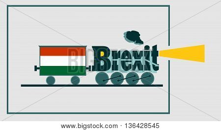 Hungary leave the European Union relative image. SSteam train as brexit word