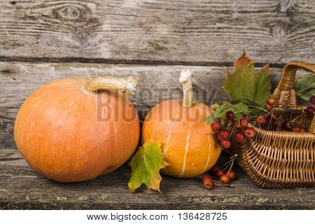 Pumpkinsbasket and fall leaves on an old wooden table