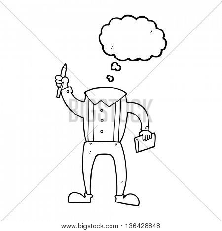 freehand drawn thought bubble cartoon headless body with notepad and pen (add own photos)