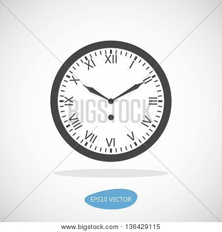 Clock Icon - Isolated Vector Illustration. Simplified flat design.