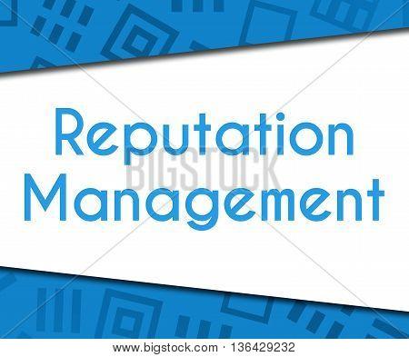 Reputation management text written over blue background.