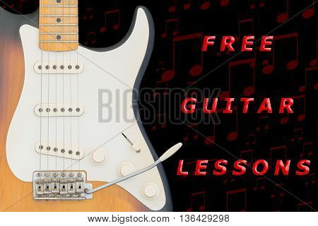 Free electric guitar lessons on black background. Close up view.
