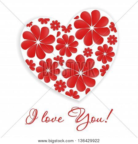 Card with the inscription - I love you and heart with floral pattern on a white background. Raster illustration