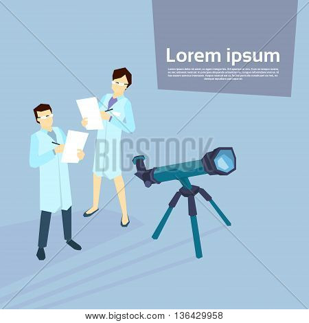 Scientist Woman Man Telescope Laboratory Flat Vector Illustration