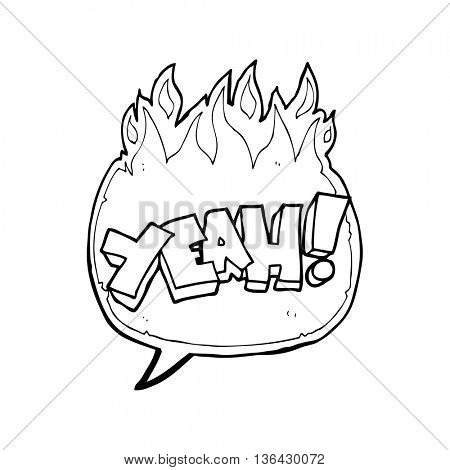 yeah! freehand drawn speech bubble cartoon shout