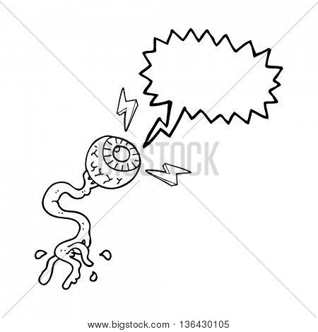 freehand drawn speech bubble cartoon gross electric eyeball