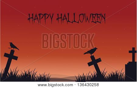 Silhouette of Halloween crow and tomb vector art