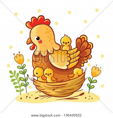 Cartoon hen and chickens isolated on background. Farm. Chicken family. Hen and chickens vector isolated