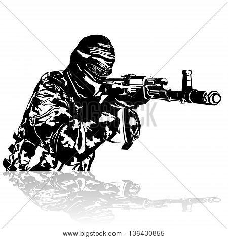 Abstract image of a soldier with automatic firearms. Illustration on white background.