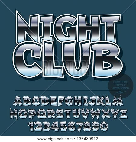 Glossy set of alphabet letters, numbers and punctuation symbols. Reflective vector logotype with text Night Club