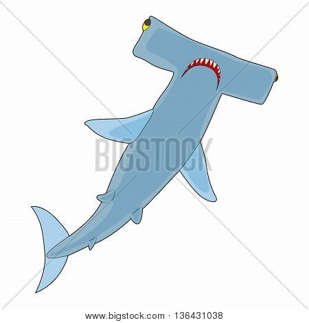 Hammerhead shark icon in cartoon style on a white background