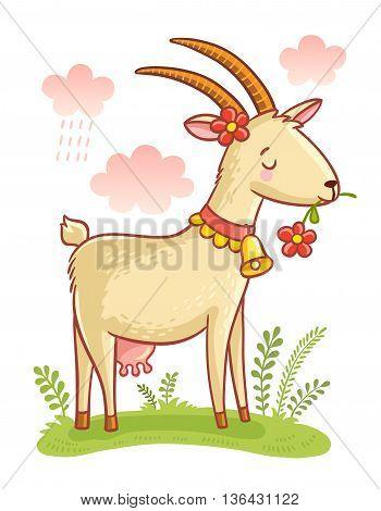 Cute Farm Animal Goat. Colorful illustration of Cartoon Goat.