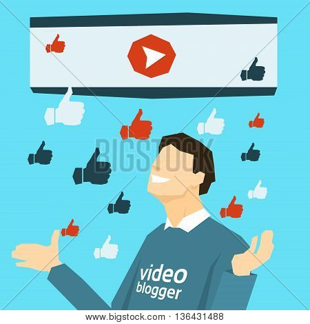 Popular Video Blogger With Like Thumb Up Flat Vector Illustration