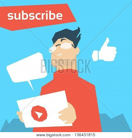 Man Blogger Hold Tablet Video Blog With Like Flat Vector Illustration