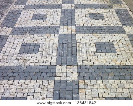 Decorative Black And White Cobble Sidewalk