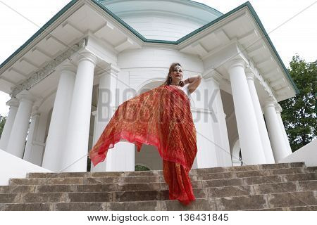 Girl woman saree India Indian woman Palace columns stairs staircase Princess Queen