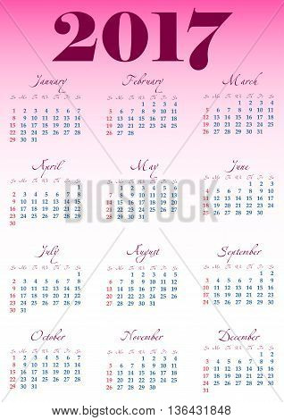 Calendar grid for 2017 with noted weekend days in red. Simple design. First day of week - Sunday. Suitable for USA Japan Canada. Vertical orientation. Vector illustration