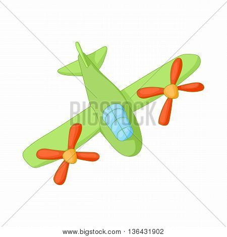 Airplane with two propeller engines icon in cartoon style on a white background