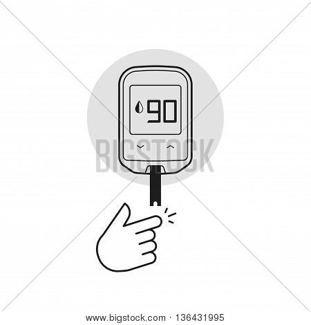 Glucometer vector illustration isolated on white, flat line outline diabetes blood glucose test glucometer measurement equipment, black white style