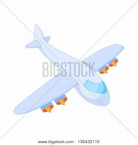Cargo plane icon in cartoon style on a white background