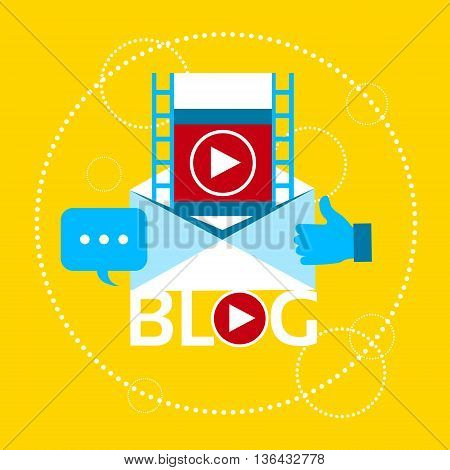 Modern Video Blog Banner Blogging Concept Flat Vector Illustration