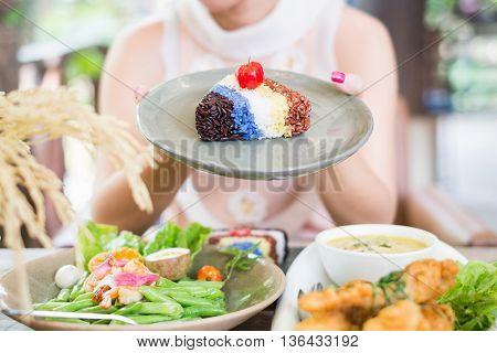Riceberry Brown rice Jasmin rice Saffron rice Butterfly Pea rice