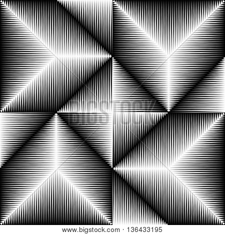 Seamless Triangle Pattern. Abstract Monochrome Background. Vector Regular Gradient Texture.