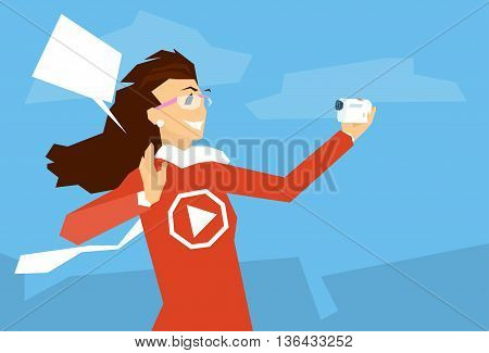 Woman Blogger Hold Camera Video Blog Concept Flat Vector Illustration