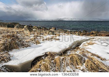 Winter seascape of Lofoten Islands North Norway