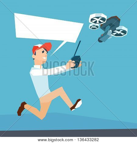 Man Hold Remote Control Drone Flying Air Quadrocopter Flat Vector Illustration