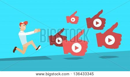 Man Run Followers Like Thumb Up Popular Video Blogger Subscribe Vector Illustration