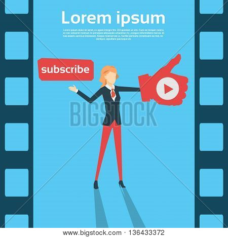 Woman Blogger With Like Thumb Up Video Blog Flat Vector Illustration