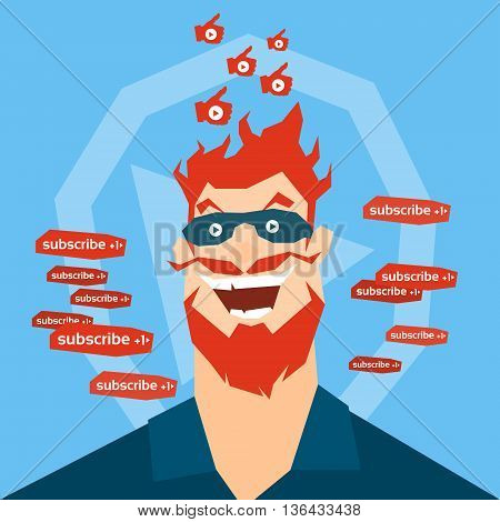 Crazy Man Face Blogger With Like Thumb Up Video Blog Concept Flat Vector Illustration