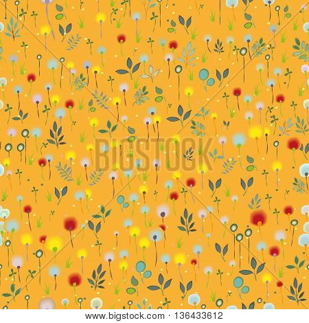 Blossoming Field. Orange Seamless Pattern. Watercolor flowers and plants. illustration.