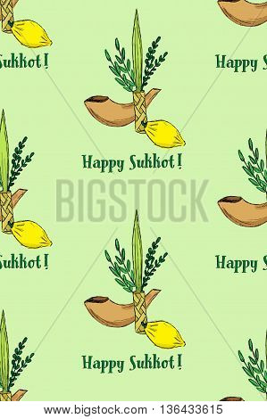 Four species: Etrog, lulav, hadass and aravah, Happy Sukkot seamless pattern. Raster illustration