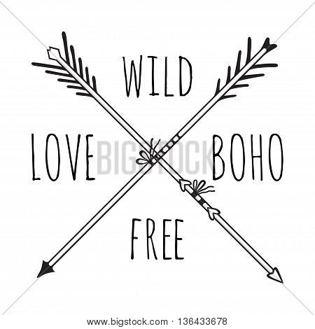 Vector illustration of boho logo. Bohemian logo with arrows.Isolated on white background. Hand drawn.