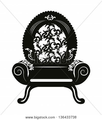 Vintage Baroque Classic Armchair with luxurious round ornaments. Vector