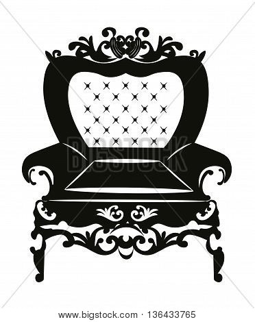 Vintage Rococo Classic Armchair with luxurious ornaments. Vector