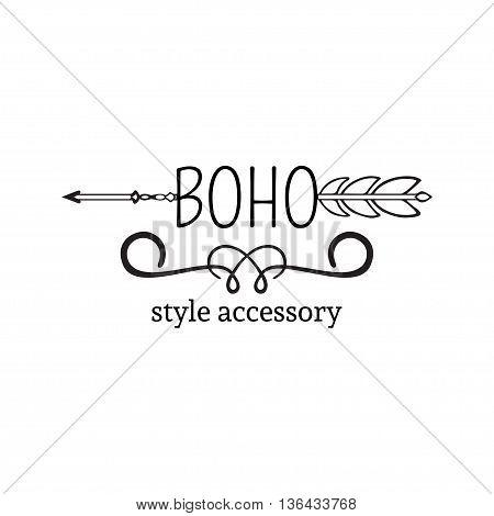 Vector illustration of boho logo. Bohemian logo with arrow. Isolated on white background. Hand drawn.
