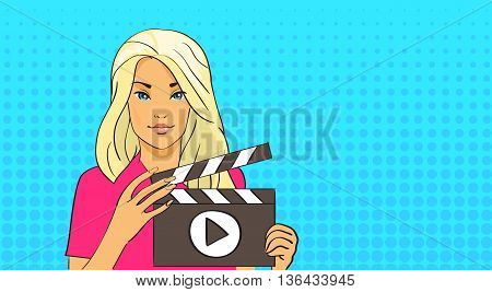 Blonde Girl Hold Flapper Video Blogger Pop Art Retro Style Vector Illustration