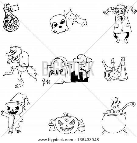 Halloween object in doodle vector art illustration