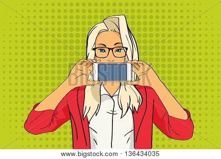 Pretty Blonde Girl Hold Cell Smart Phone Pop Art Colorful Retro Style Vector Illustration