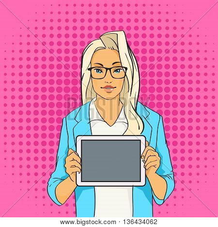 Pretty Blonde Girl Hold Tablet Computer Empty Screen Copy Space Pop Art Colorful Retro Style Vector Illustration