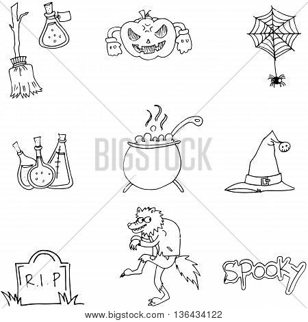 Element Halloween and monster in doodle illustration