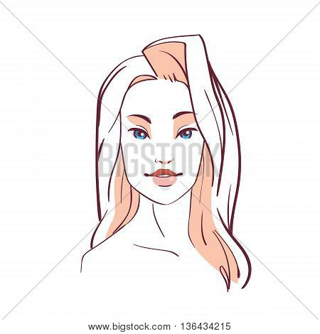 Woman Face Beauty Girl Sketch Vector Illustration